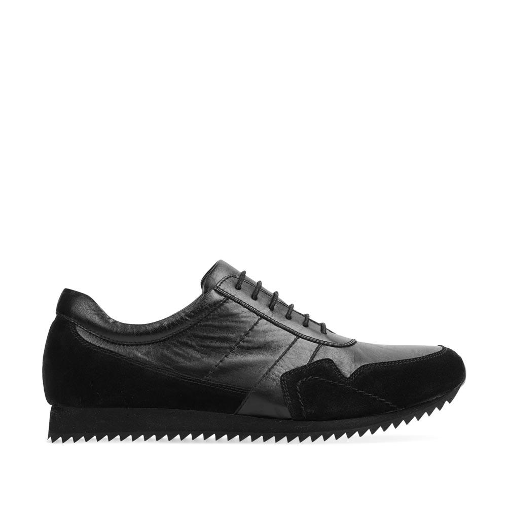 Кроссовки из кожи черного цвета с замшевыми вставками