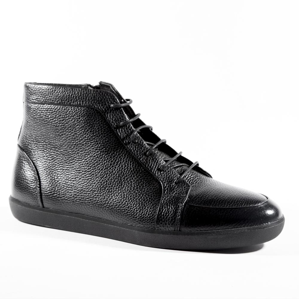 Мужские ботинки ROSCOTE Кожаные ботинки черного цвета с мехом на шнуровке