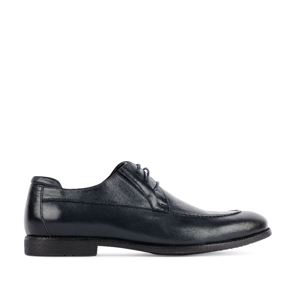 Ботинки на шнуровке темно-синего цвета из кожи