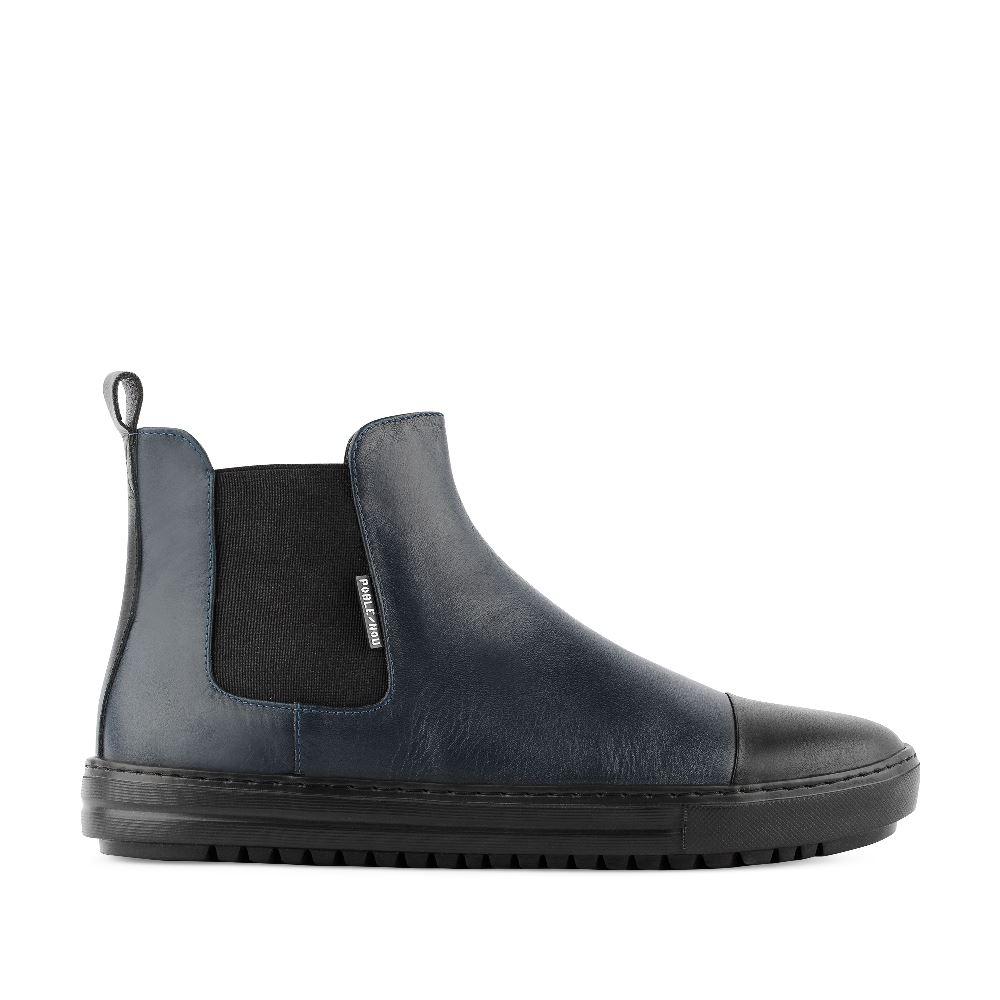 Мужские ботинки CorsoComo (Корсо Комо) Ботинки из кожи синего и черного цветов с эластичными вставками