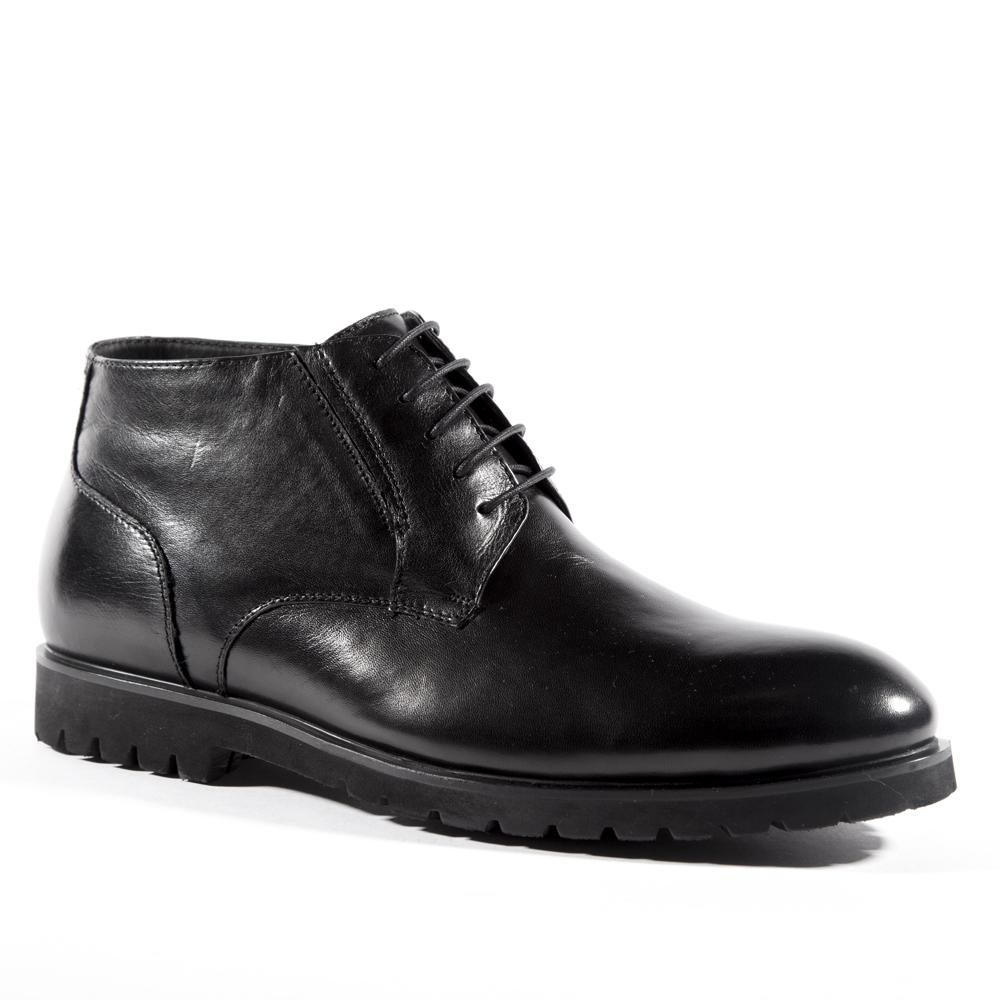 Мужские ботинки ROSCOTE Ботинки из кожи черного цвета с мехом на протекторной подошве