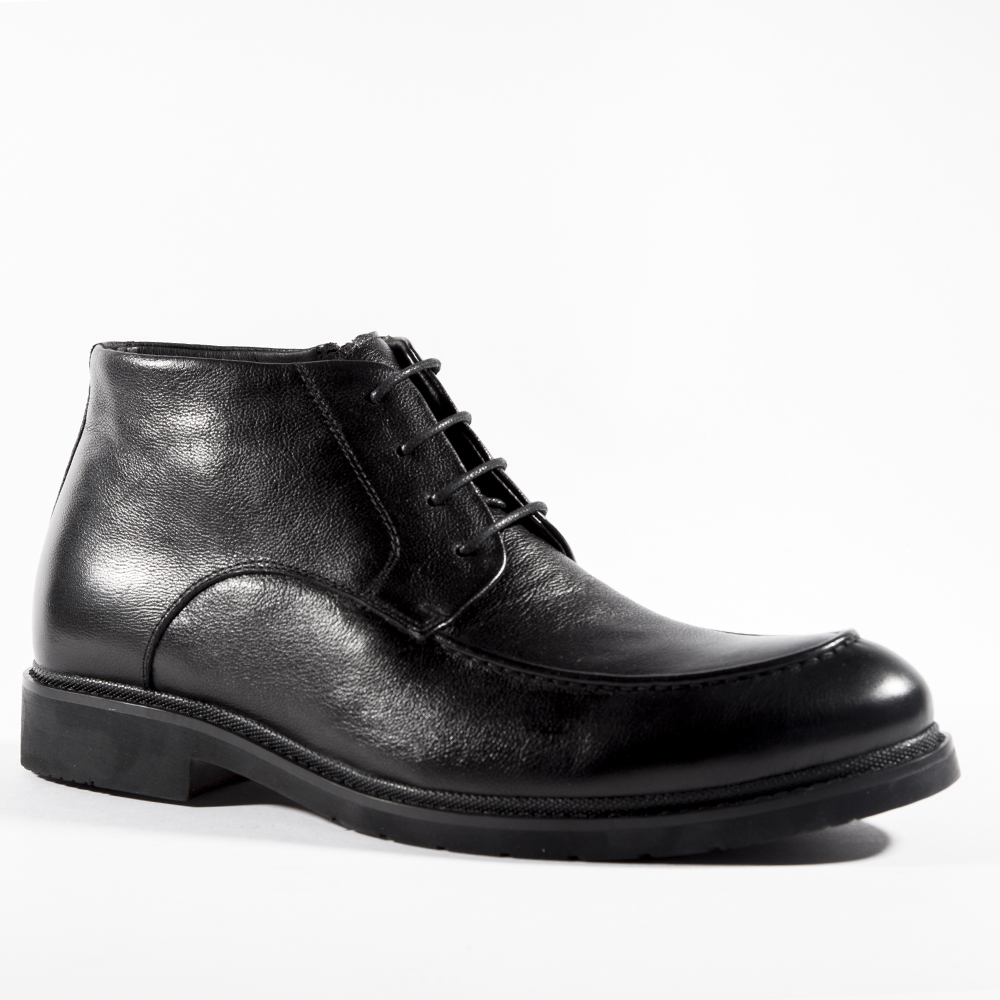 Мужские ботинки ROSCOTE Кожаные ботинки с мехом черного цвета на шнуровке
