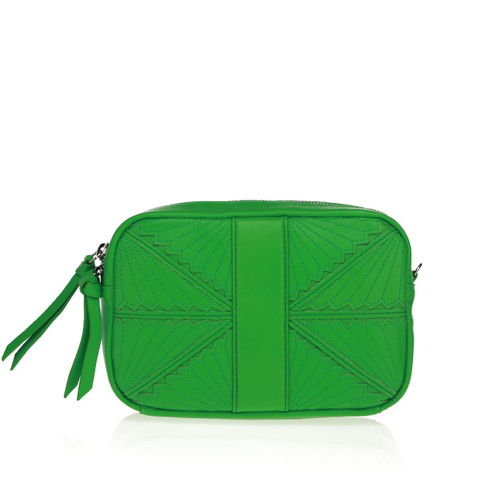 Кожаный клатч ярко-зеленого цвета