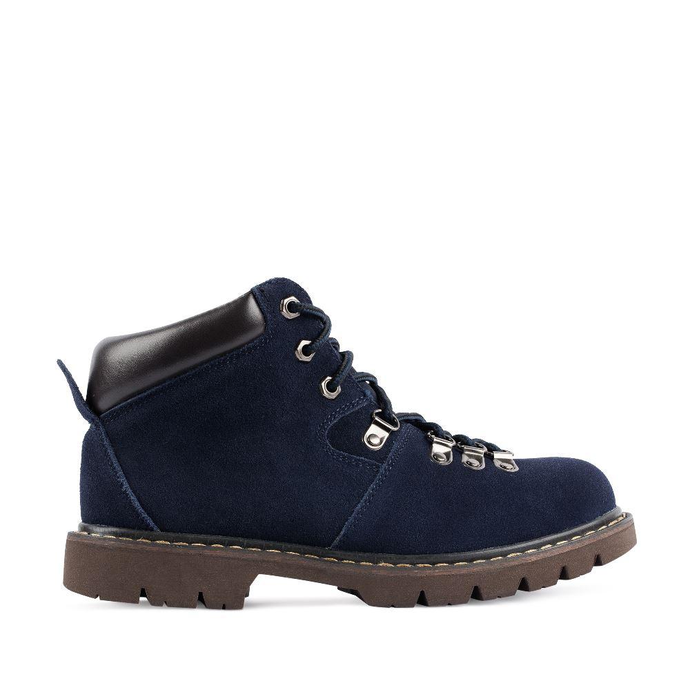 Ботинки из замши синего цвета на протекторной подошве