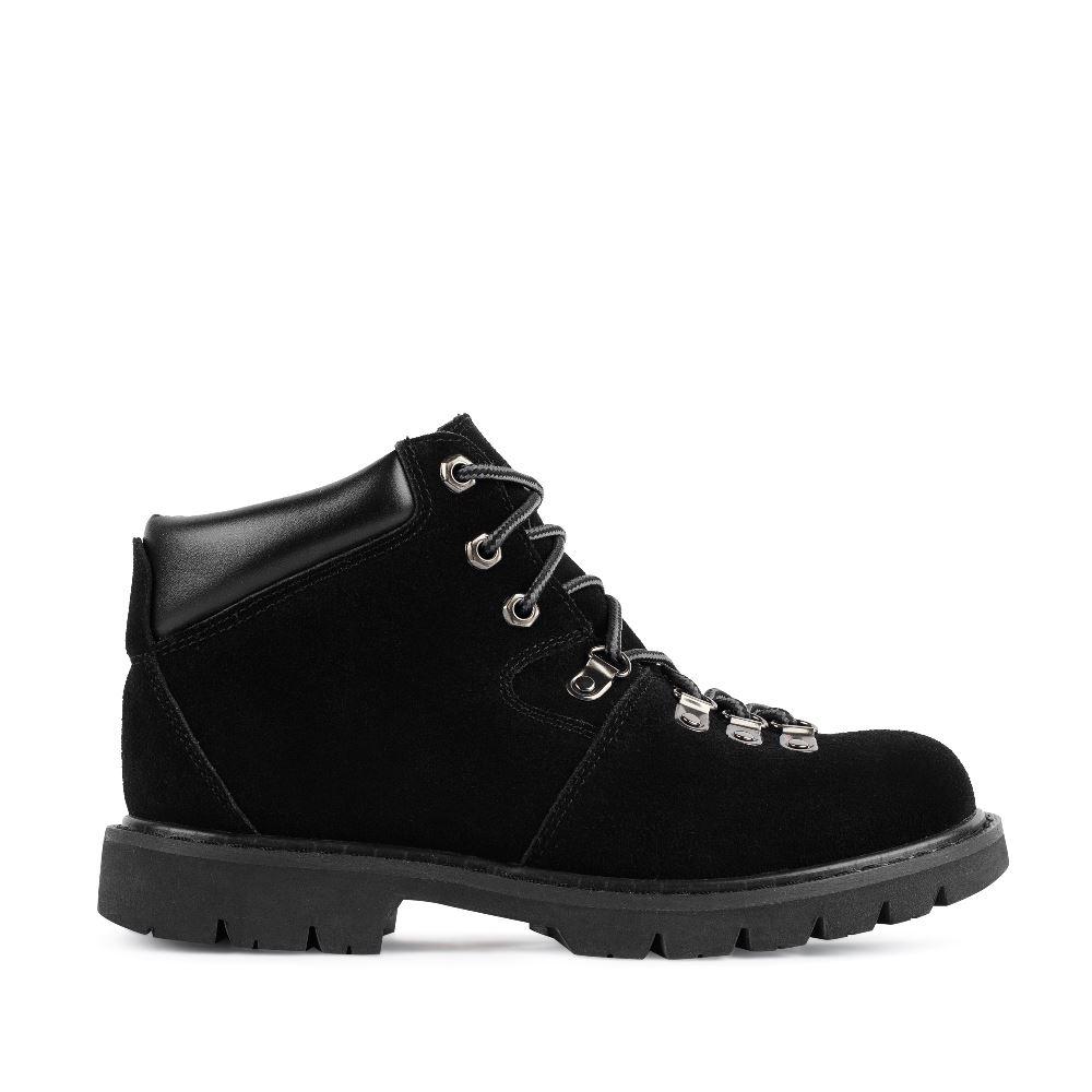 CORSOCOMO Ботинки из замши черного цвета на шнуровке 05-H-1-3