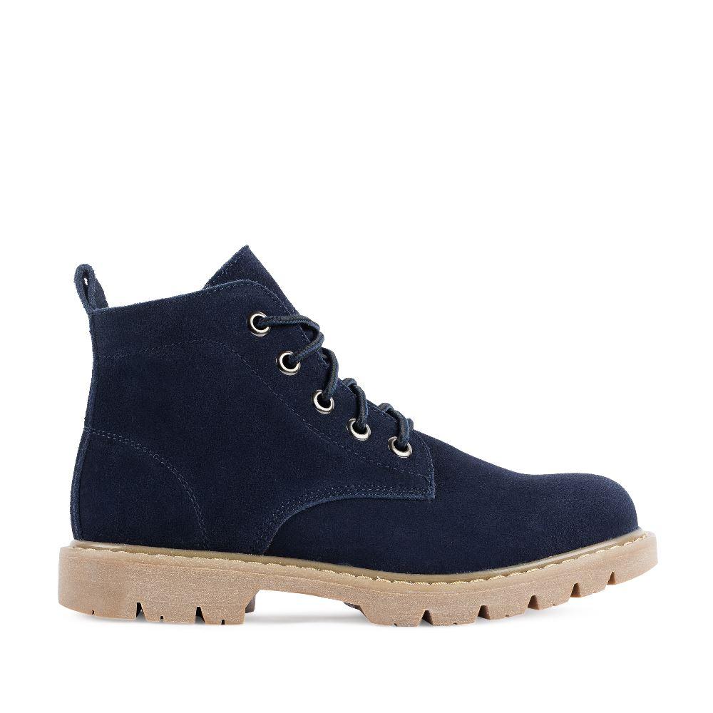 Высокие ботинки из замши синего цвета на шнуровке