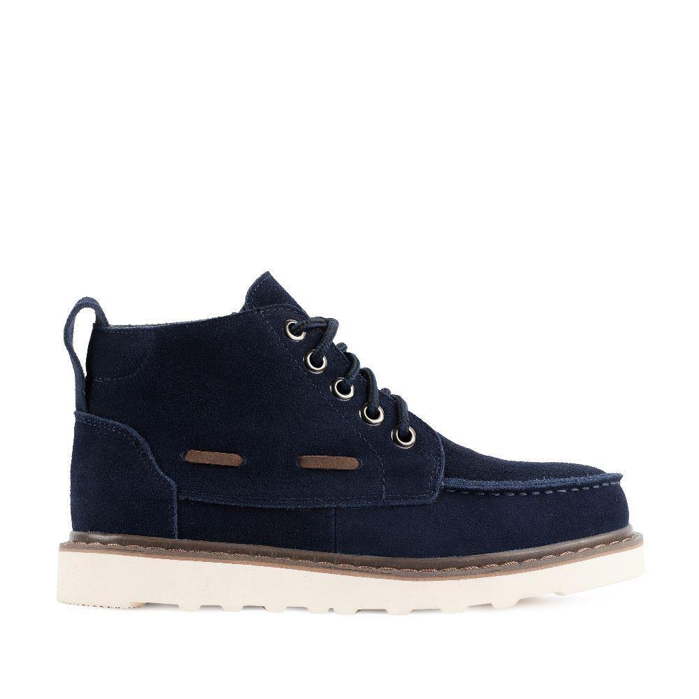 Ботинки синего цвета из замши на протекторной подошве