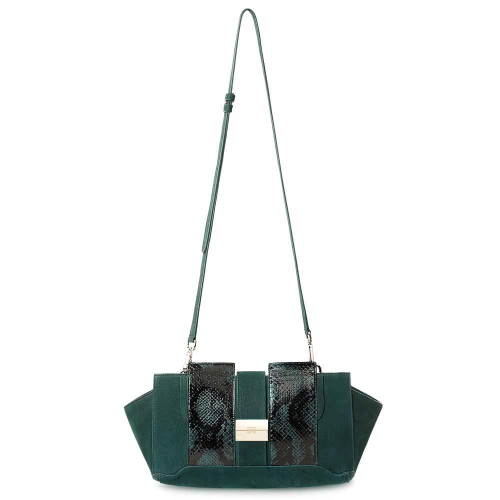 CORSOCOMO Кожаная сумка изумрудного цвета с вставками из кожи змеи 07-1010-3-0