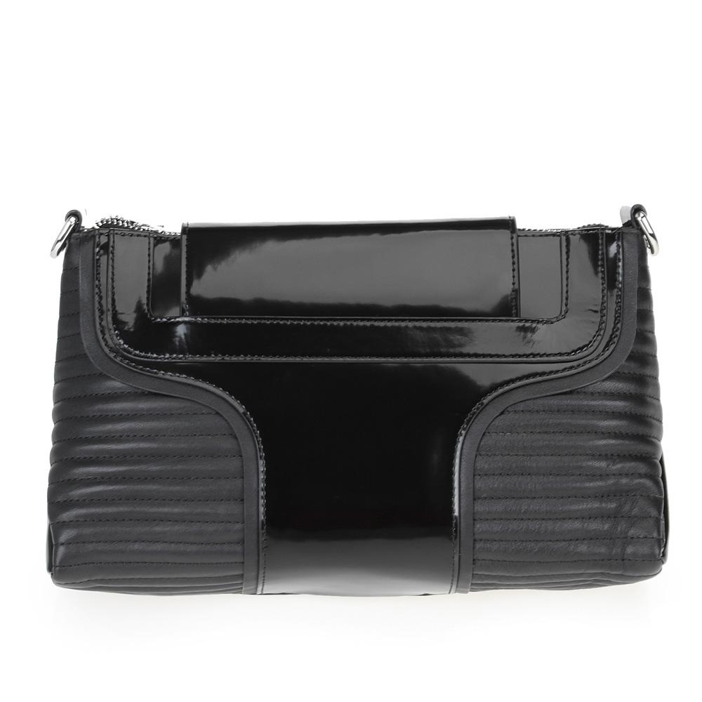 Геометричная сумка черного цвета с вставками из лакированной кожиСумка <br><br><br>Материал верха: Лакированная кожа<br><br>Материал подкладки: Текстиль<br><br>Цвет: Черный<br><br><br>Размеры: 22см Х 15см Х 8см<br><br>Длина ремня: 100 - 115см<br><br>Застежка: Молния + Магнитная кнопка<br><br>Описание: 2 кармана<br><br>Дизайн: Италия<br><br>Страна производства: Китай<br><br>Материал верха: Лакированная кожа<br>Цвет: Черный<br>Вес кг: 0.48500000<br>Размер: Без размера