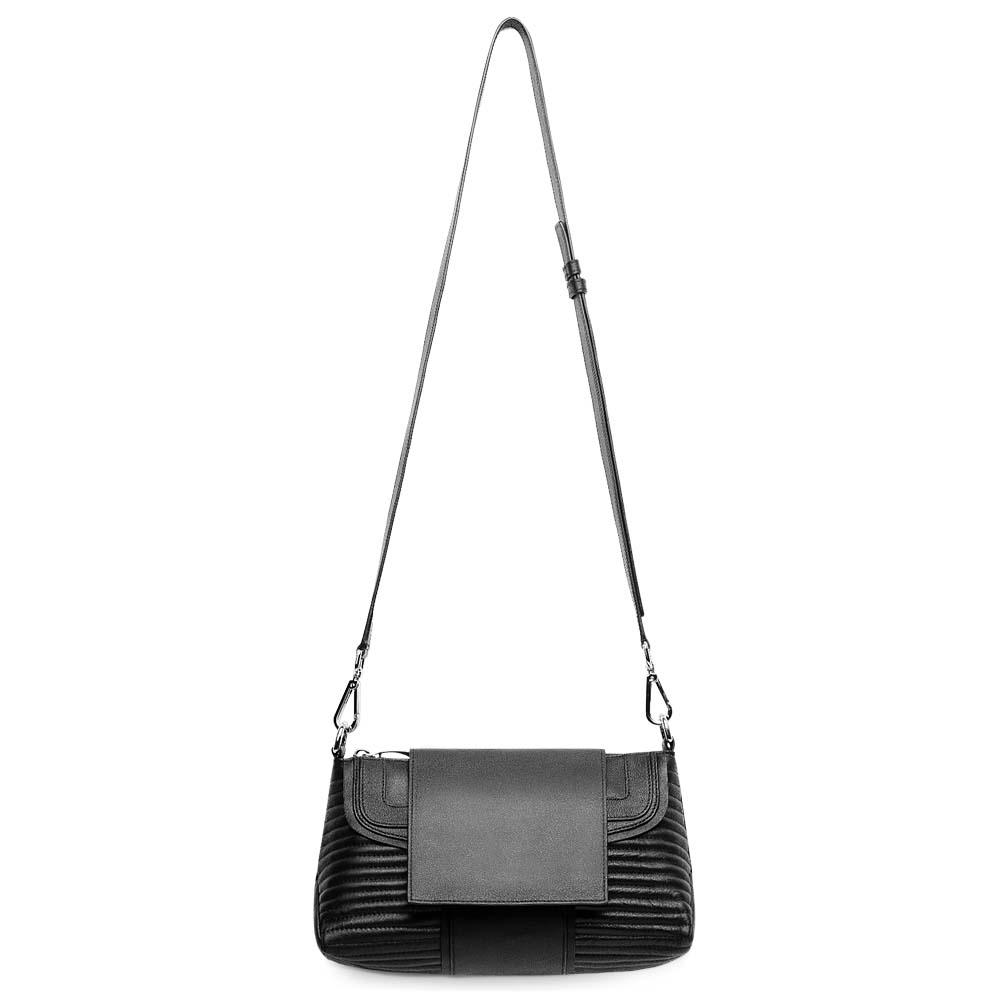 Кожаная сумка черного цвета трапециевидной формы