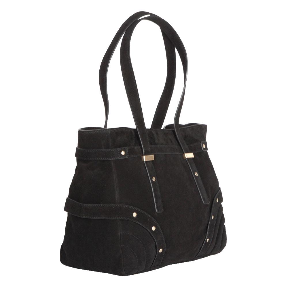 Сумка CorsoComo (Корсо Комо) Замшевая сумка черного цвета с заклепками на плечо
