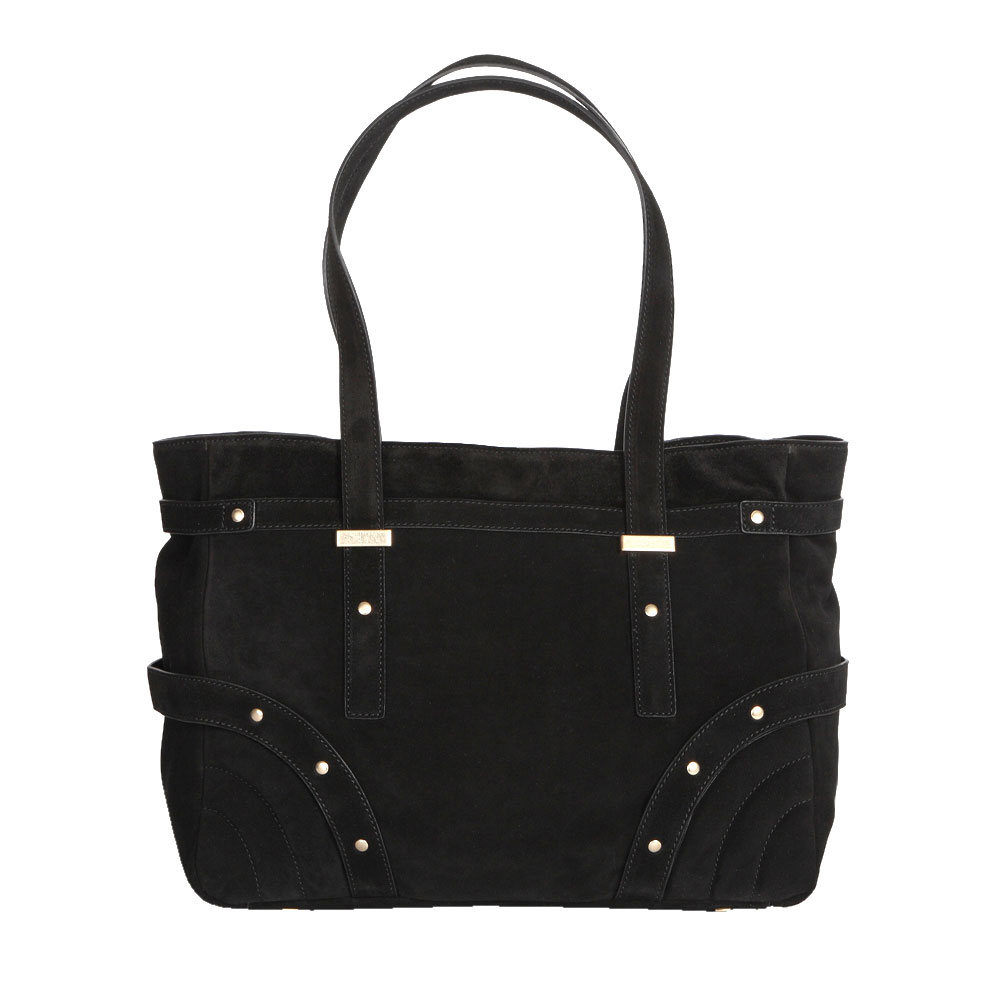 CORSOCOMO Замшевая сумка черного цвета с заклепками на плечо 08-0052-3