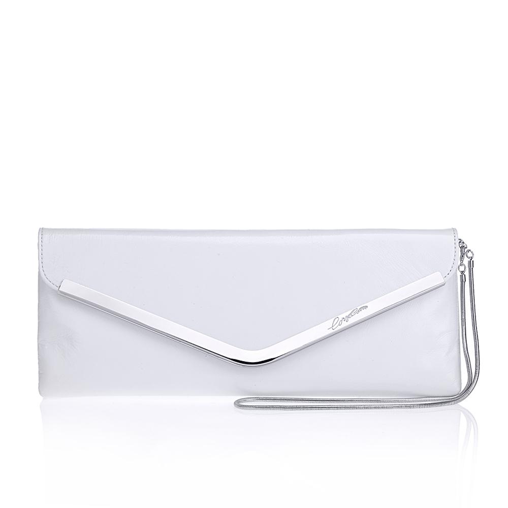CORSOCOMO Кожаный клатч белого цвета с цепочкой 08-0076-53G4