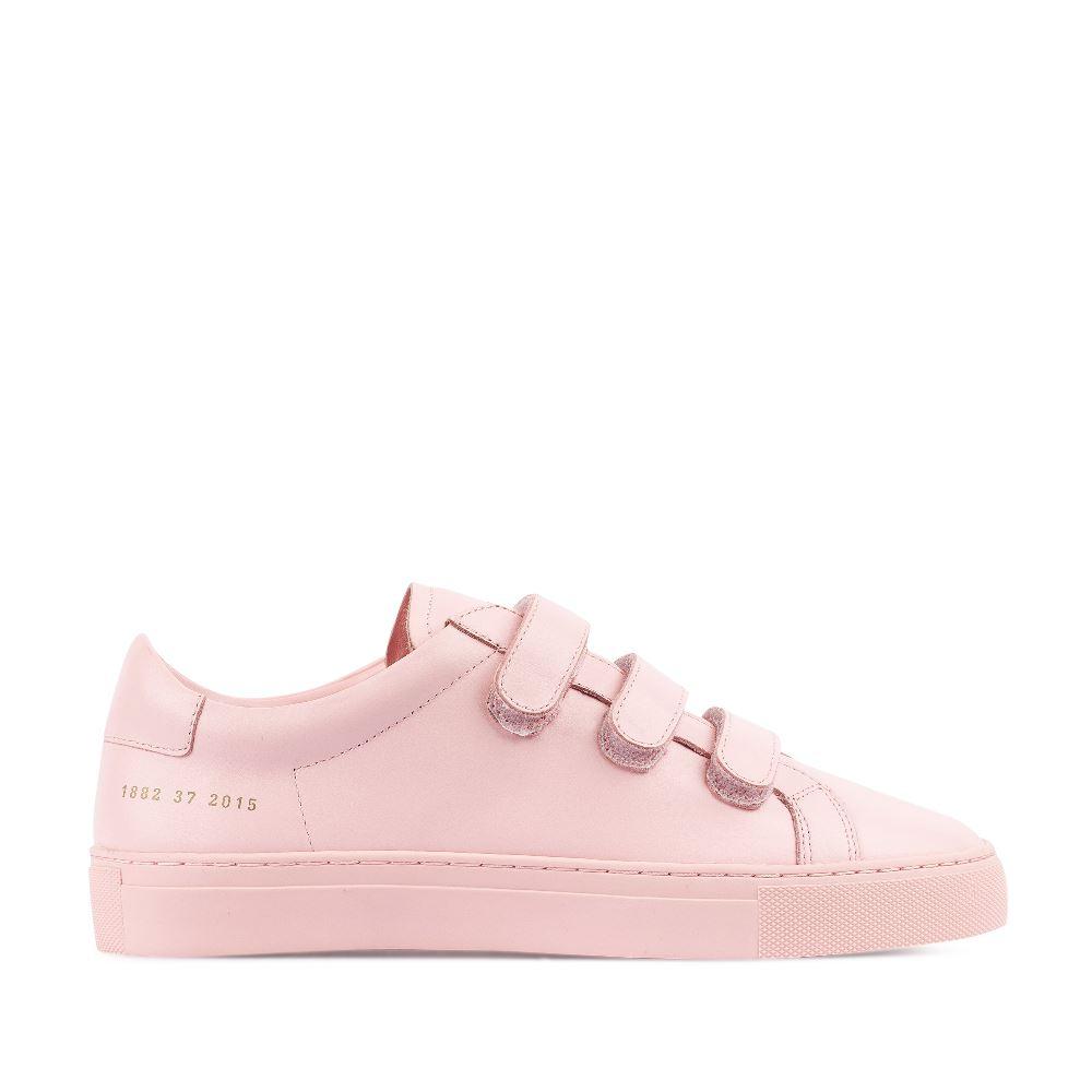 Кеды из кожи розового цвета на липучках 10-99-5