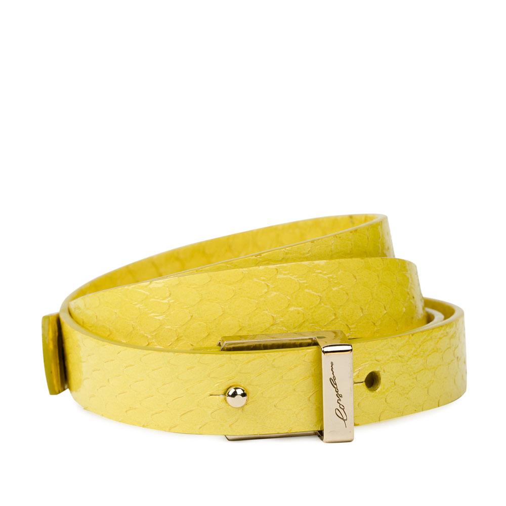 Ремень из кожи змеи канареечного цвета с металлической пряжкойРемень <br><br><br>Материал верха: Кожа змеи<br><br>Материал подкладки: Кожа<br><br>Цвет: Желтый<br><br>Дизайн: Италия<br><br>Страна производства: Китай<br><br>Материал верха: Кожа змеи<br>Материал подкладки: Кожа<br>Цвет: Желтый<br>Пол: Женский<br>Вес кг: 0.07000000<br>Размер: Без размера