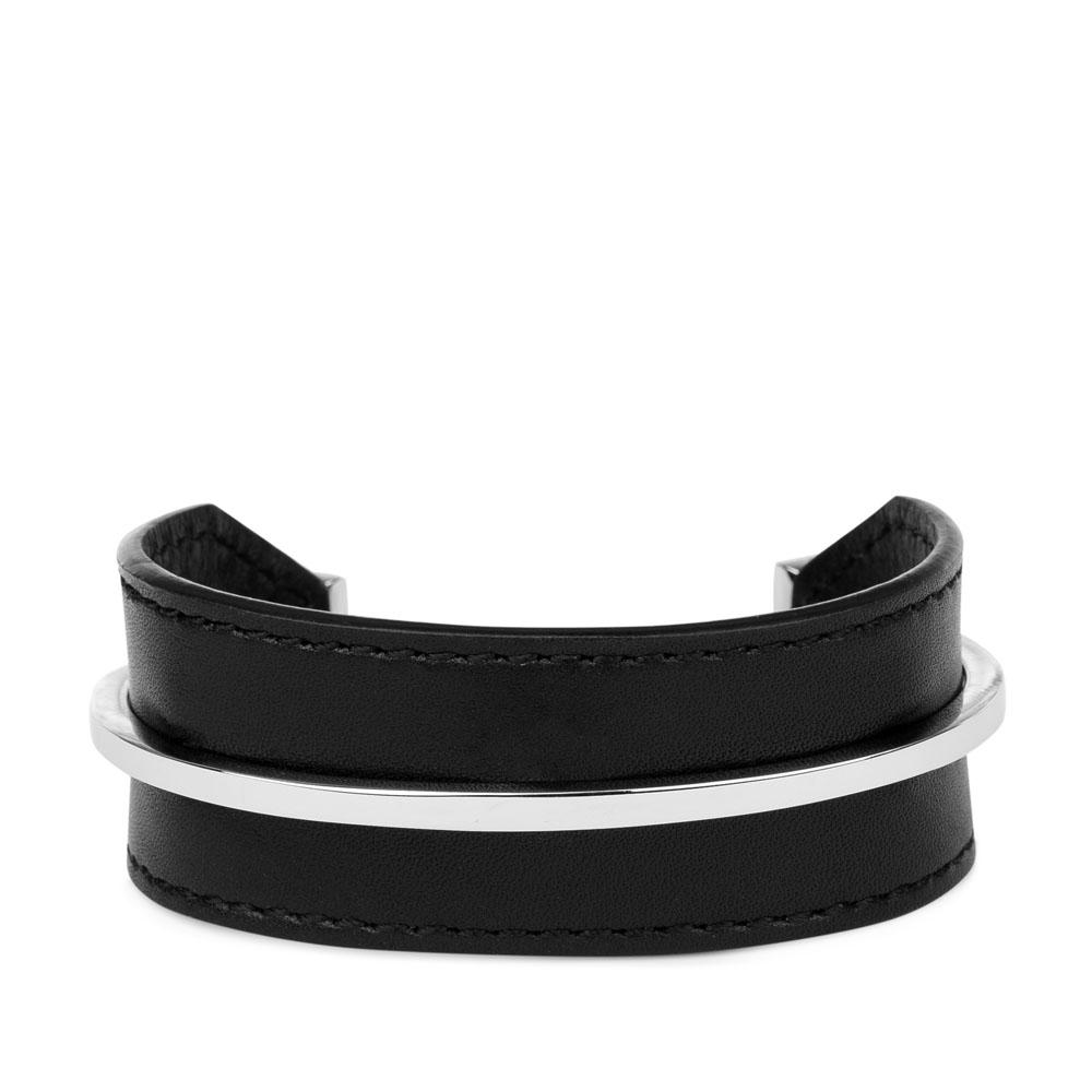 Минималистичный браслет из кожи черного цвета