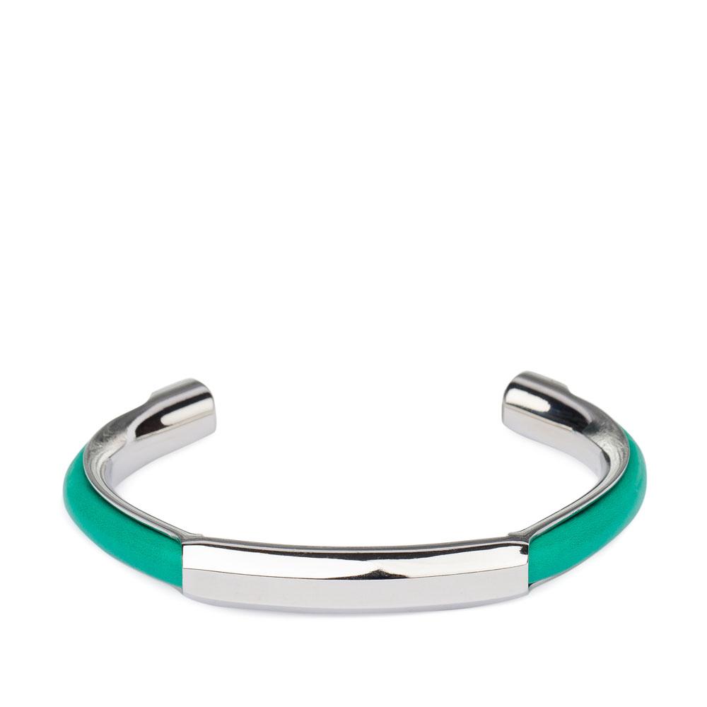 Металлический браслет с кожаными вставками бирюзового цветаБраслет <br><br><br>Материал верха: Металл + Кожа<br><br>Цвет: Зеленый<br><br>Дизайн: Италия<br><br>Страна производства: Китай<br><br>Материал верха: Кожа<br>Материал подкладки: Кожа<br>Цвет: Зеленый<br>Пол: Женский<br>Размер: Без размера