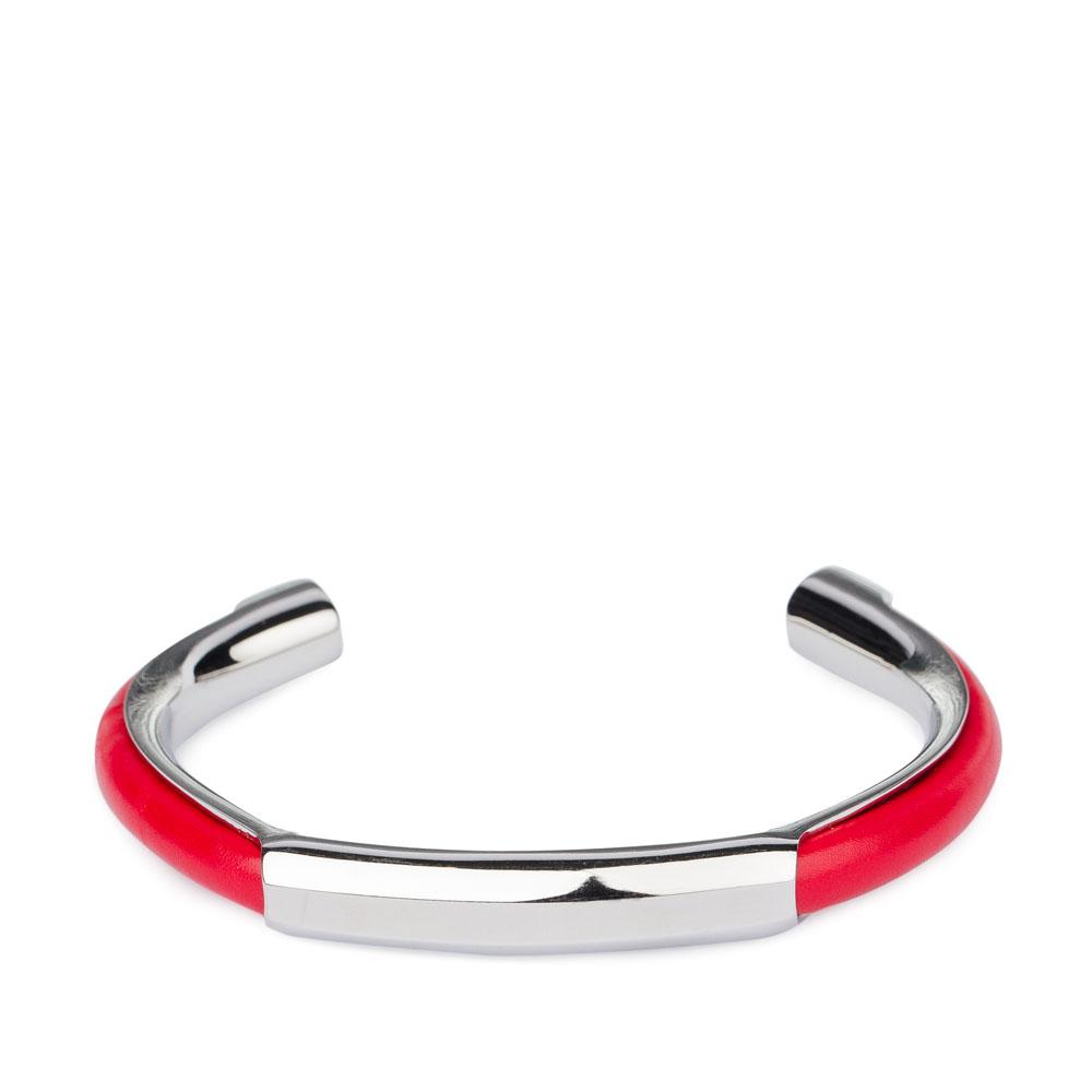 Металлический браслет с кожаными вставками кораллового цветаБраслет <br><br><br>Материал верха: Металл + Кожа<br><br>Цвет: Красный<br><br>Дизайн: Италия<br><br>Страна производства: Китай<br><br>Материал верха: Кожа<br>Материал подкладки: Кожа<br>Цвет: Красный<br>Пол: Женский<br>Размер: Без размера