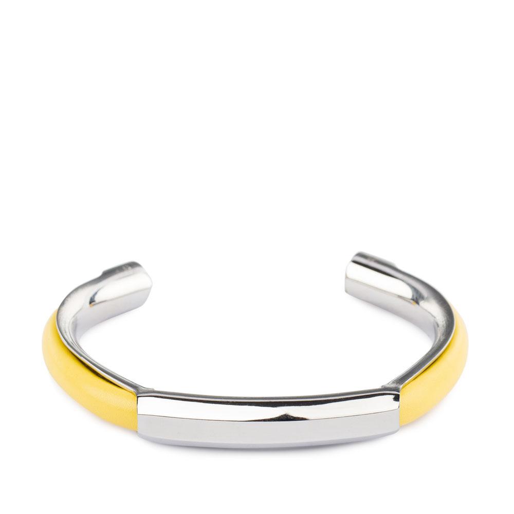 Металлический браслет с кожаными вставками солнечно-желтого цветаБраслет <br><br><br>Материал: Металл + Кожа<br><br>Цвет: Желтый<br><br>Дизайн: Италия<br><br>Страна производства: Китай<br><br>Материал верха: Кожа<br>Материал подкладки: Кожа<br>Цвет: Желтый<br>Пол: Женский<br>Размер: Без размера
