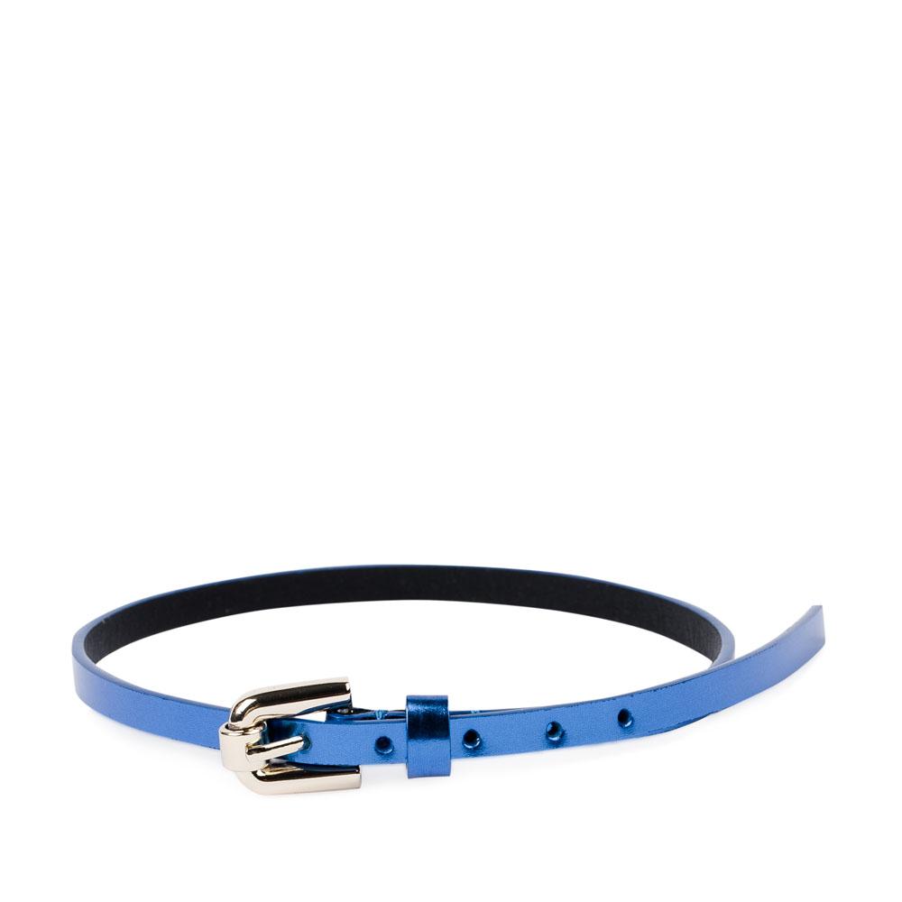 Тонкий браслет из металлизированной кожи лазурного цвета