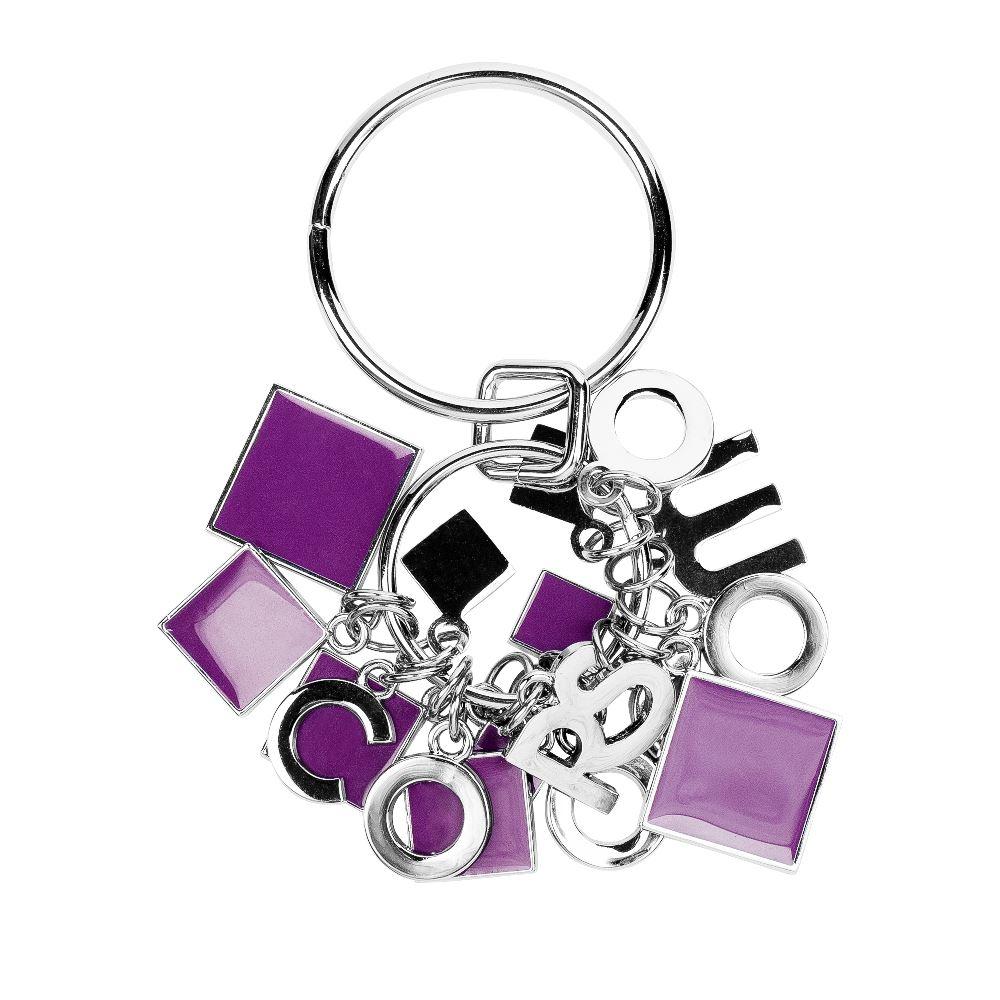 Металлический брелок фиолетового цветаБрелок <br><br><br>Материал верха: Металл<br><br>Цвет: Фиолетовый<br><br>Дизайн: Италия<br><br>Страна производства: Китай<br><br>Материал верха: Металл<br>Цвет: Фиолетовый<br>Вес кг: 1.00000000<br>Размер: Без размера