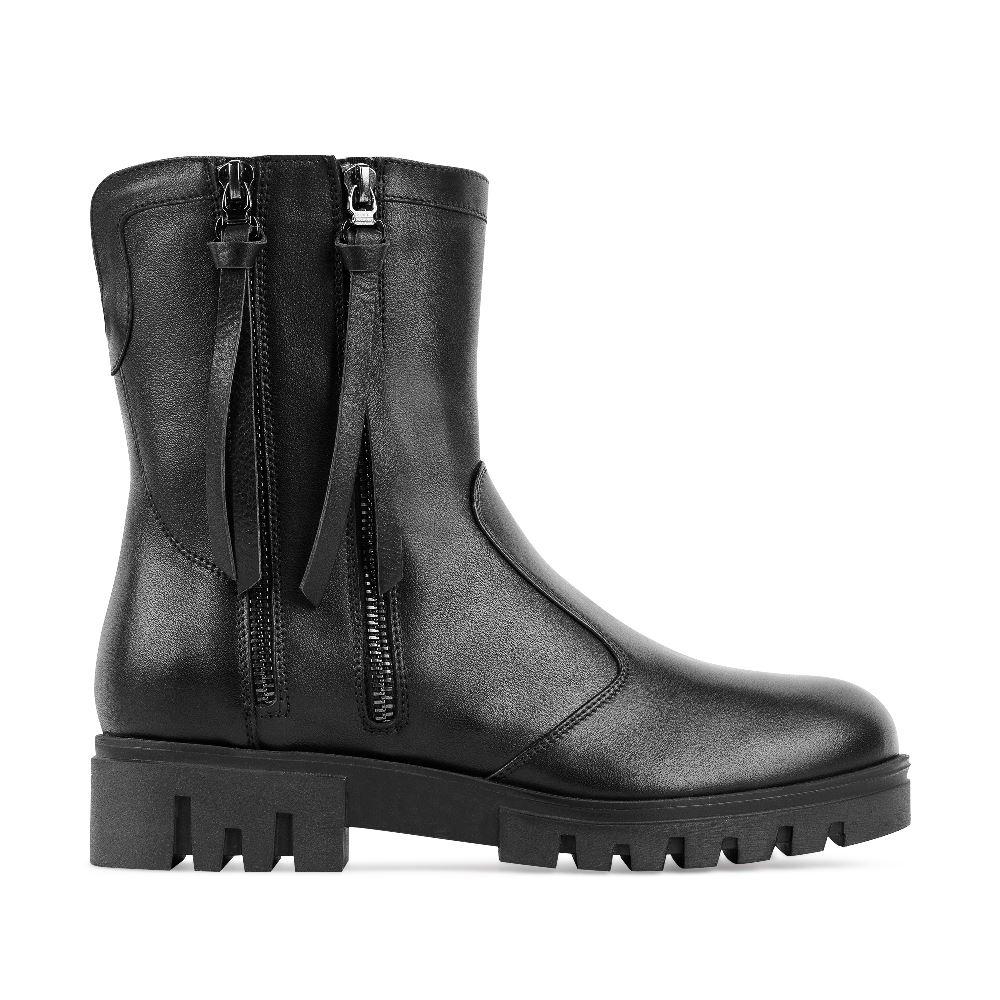 Высокие ботинки из кожи черного цвета с молниями