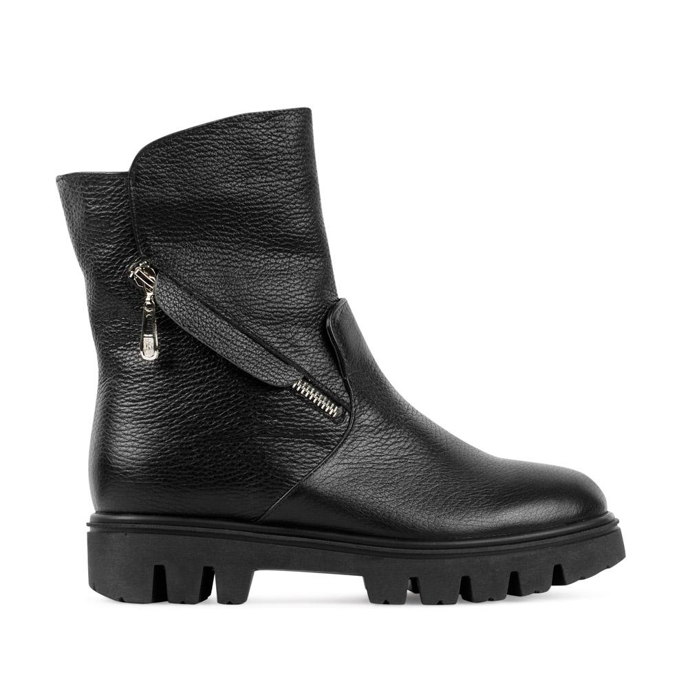CORSOCOMO Высокие ботинки из кожи черного цвета на молнии 1319-16-10