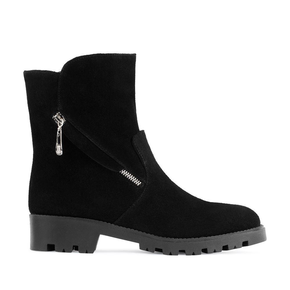 CORSOCOMO Высокие ботинки из замши черного цвета на молнии 1319-16-24