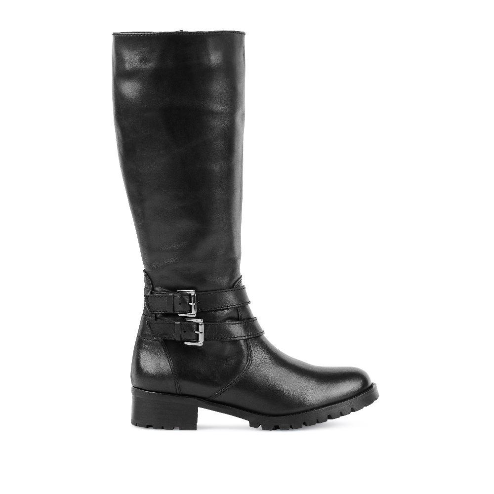 Сапоги из кожи чёрного цвета на среднем каблуке с ремешкамиСапоги женские<br><br>Материал верха: Кожа<br>Материал подкладки: Текстиль<br>Материал подошвы: Полиуретан<br>Цвет: Черный<br>Высота каблука: 4 см<br>Дизайн: Италия<br>Страна производства: Португалия<br><br>Высота каблука: 4 см<br>Материал верха: Кожа<br>Материал подошвы: Полиуретан<br>Материал подкладки: Текстиль<br>Цвет: Черный<br>Пол: Женский<br>Вес кг: 1800.00000000<br>Размер: 39
