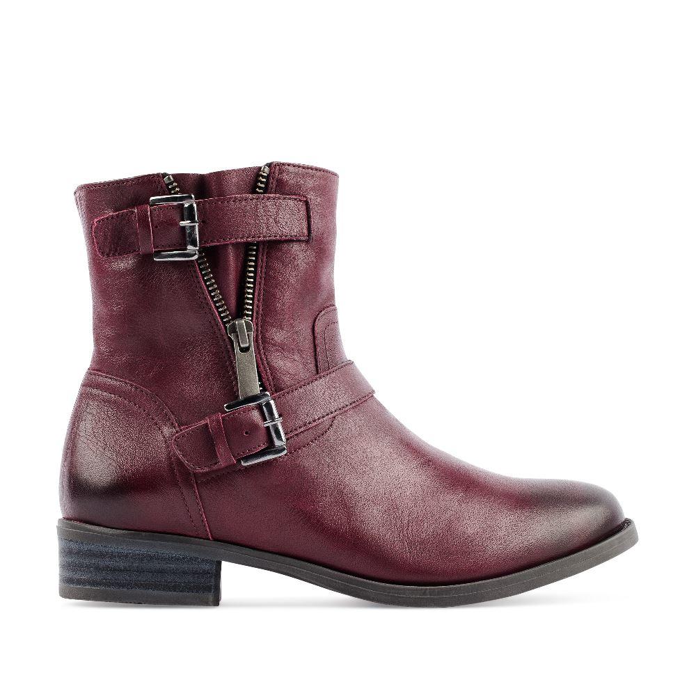 Ботинки из кожи бордового цвета на молнии