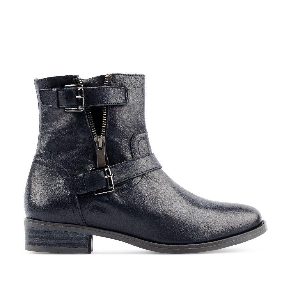 Ботинки из кожи тёмно-синего цвета на молнии