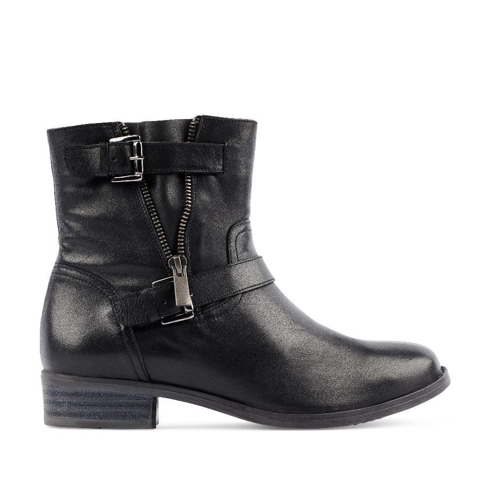 Ботинки из кожи чёрного цвета на молнии