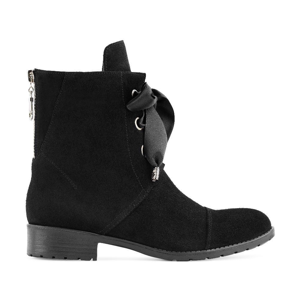Ботинки из замши черного цвета с шнуровкой и молнией