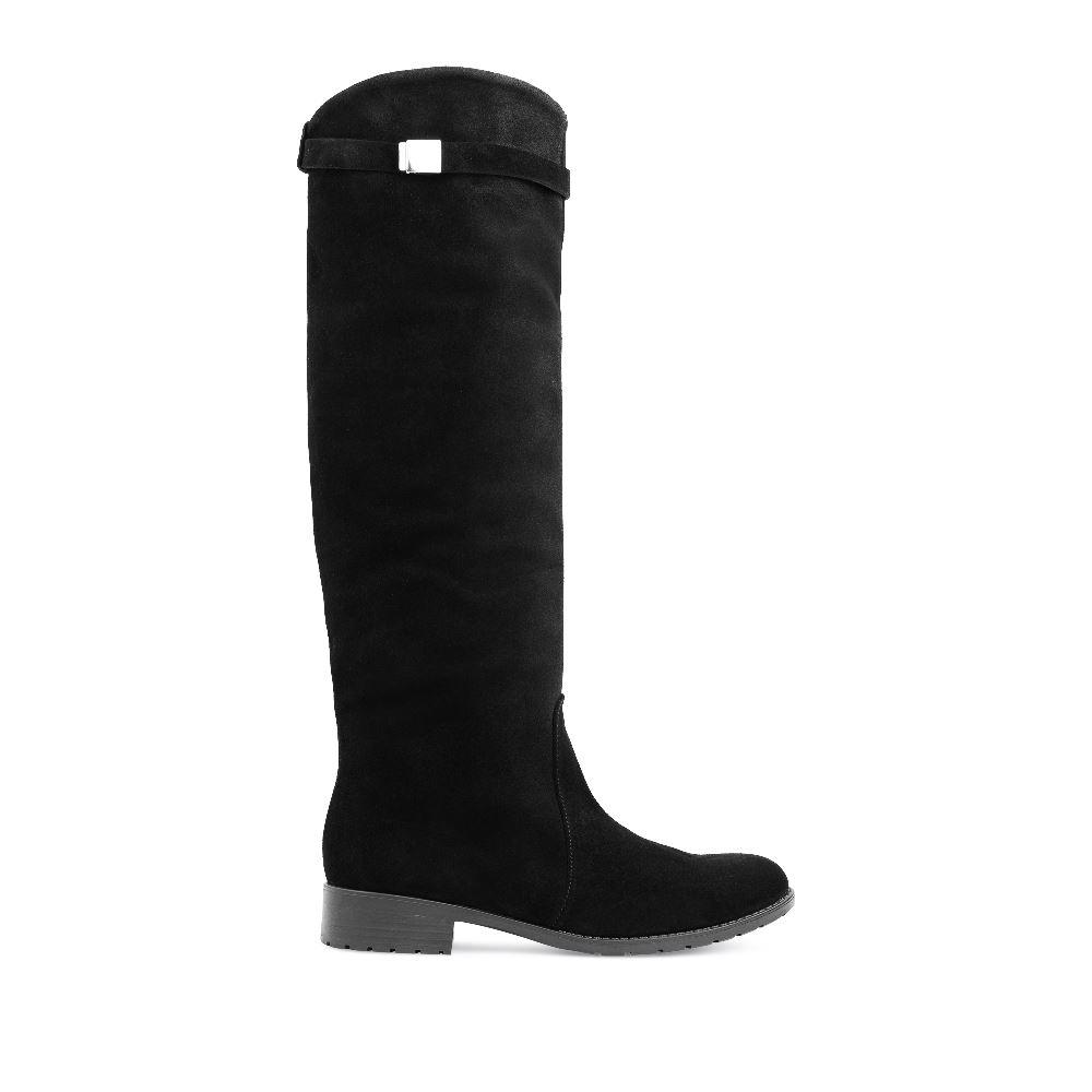 Сапоги черного цвета из замши на среднем каблуке