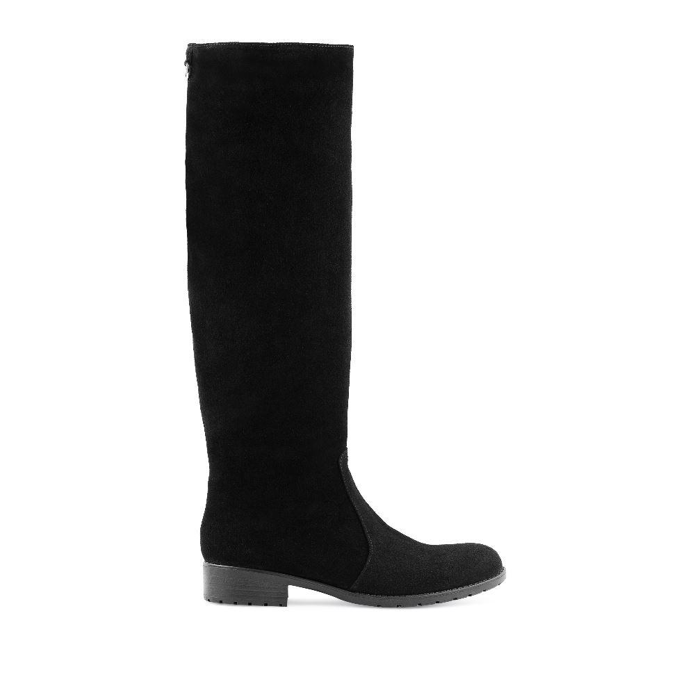 Замшевые сапоги черного цвета с мехом