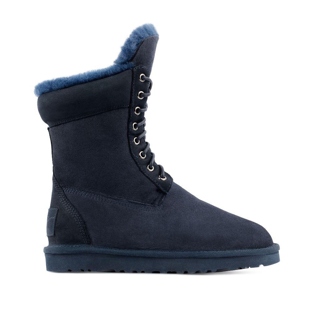 Угги из замши синего цвета на шнуровке
