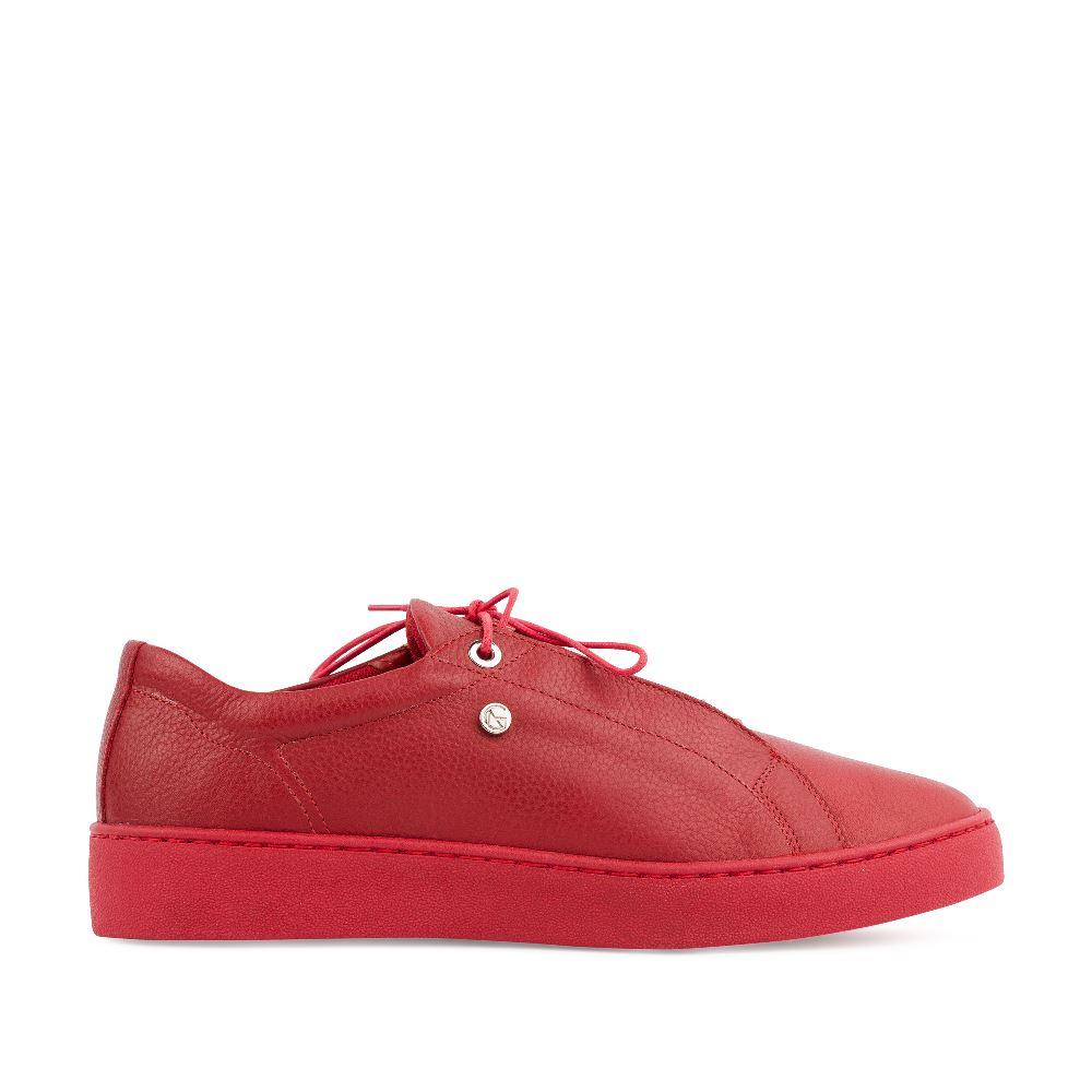 Кеды женские из кожи красного цветаКроссовки женские<br><br>Материал верха: Кожа<br>Материал подкладки: Кожа<br>Материал подошвы: Полиуретан<br>Цвет: Красный<br>Высота каблука: 2 см<br>Дизайн: Италия<br>Страна производства: Польша<br><br>Высота каблука: 2 см<br>Материал верха: Кожа<br>Материал подкладки: Кожа<br>Цвет: Красный<br>Пол: Женский<br>Выберите размер обуви: 37