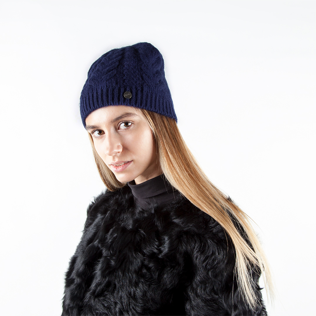 CORSOCOMO Шапка из шерсти синего цвета с узором 154-300-2