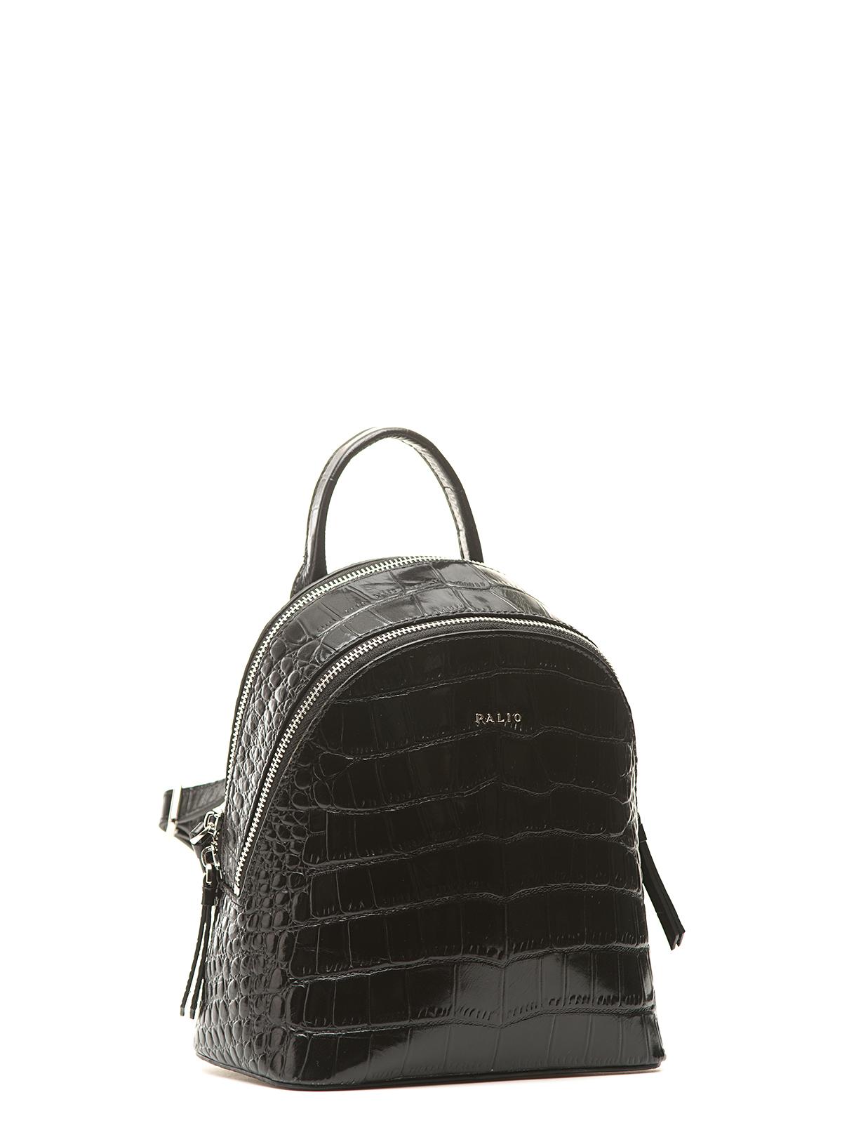 Рюкзак из кожи черного цвета с молниямиСумки<br><br>Материал верха: Кожа<br>Материал подкладки: Кожа<br>Цвет: Черный<br>Размер: 20х11х21<br>Дизайн: Италия<br>Страна производства: Китай<br><br>Материал верха: Кожа<br>Материал подкладки: Кожа<br>Цвет: Черный<br>Пол: Женский<br>Размер: Без размера