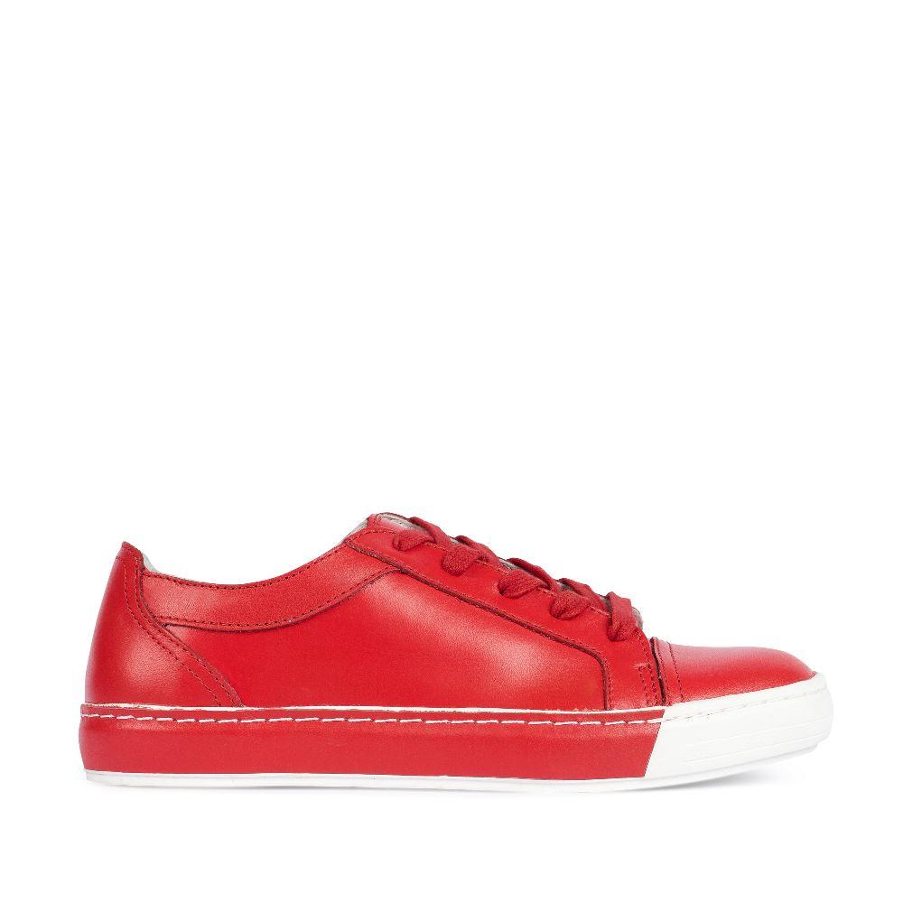 Кожаные кеды ярко-красного цвета