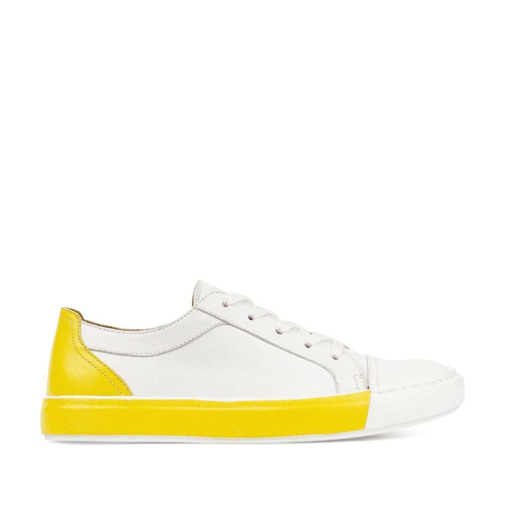 Кеды из кожи белого и желтого цветовПолуботинки женские<br><br>Материал верха: Кожа<br>Материал подкладки: Кожа<br>Материал подошвы:Полиуретан<br>Цвет: Желтый<br>Высота каблука: 0 см<br>Дизайн: Италия<br>Страна производства: Китай<br><br>Высота каблука: 0 см<br>Материал верха: Кожа<br>Материал подошвы: Полиуретан<br>Материал подкладки: Кожа<br>Цвет: Желтый<br>Вес кг: 1.00000000<br>Размер обуви: 38*