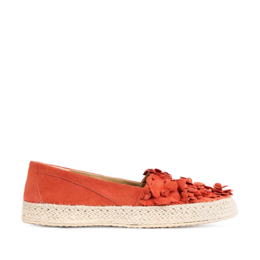 Эспадрильи из замши красного цвета с аппликациейТуфли женские<br><br>Материал верха: Замша<br>Материал подкладки: Кожа<br>Материал подошвы: Резина<br>Цвет: Красный<br>Высота каблука: 0 см<br>Дизайн: Италия<br>Страна производства: Китай<br><br>Высота каблука: 0 см<br>Материал верха: Замша<br>Материал подошвы: Резина<br>Материал подкладки: Кожа<br>Цвет: Красный<br>Вес кг: 1.00000000<br>Выберите размер обуви: 37*