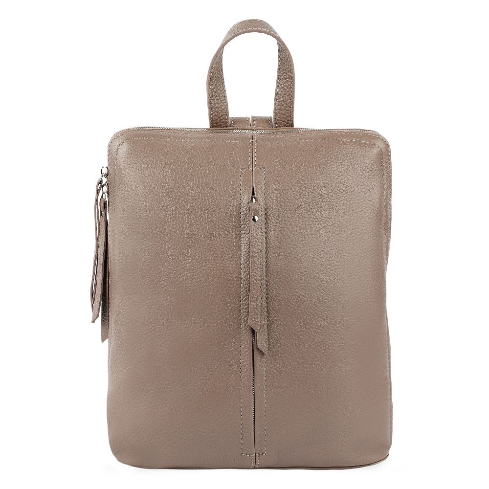 Рюкзак из кожи цвета кофе с молоком с молнией