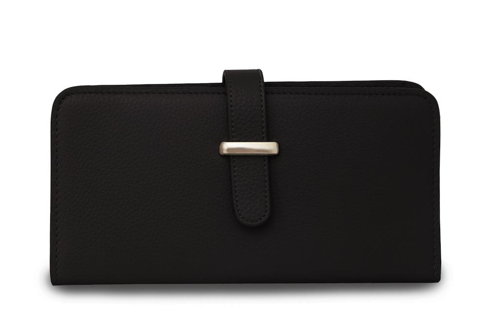 Кожаный кошелек черного цветаКошелек<br><br>Материал верха: Кожа<br>Цвет: Черный<br>Дизайн: Италия<br>Страна производства: Китай<br><br>Материал верха: Кожа<br>Цвет: Черный<br>Пол: Женский<br>Размер: Без размера