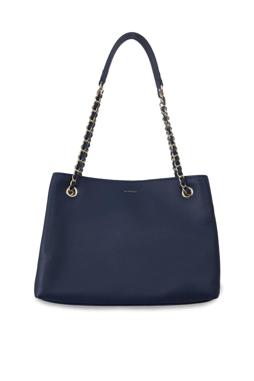Кожаная сумка темно-синего цвета на плечоСумка<br><br>Материал верха: Кожа<br>Материал подкладки: Текстиль<br>Цвет: Синий<br>Размер: 30х9х26<br>Дизайн: Италия<br>Страна производства: Китай<br><br>Материал верха: Кожа<br>Цвет: Синий<br>Пол: Женский<br>Размер: Без размера
