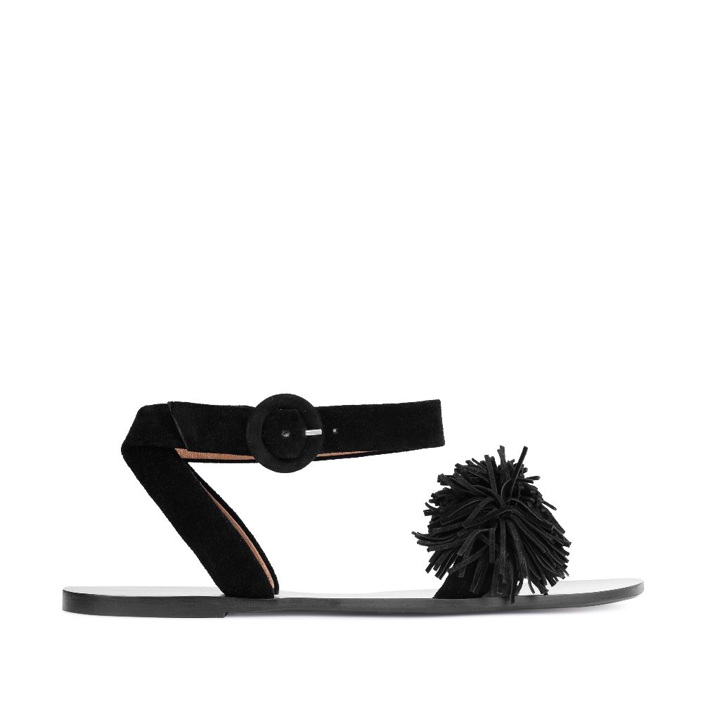 Сандалии из замши черного цвета с бахромой 17-005-01-38-15