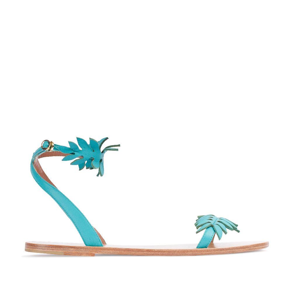 Кожаные сандалии бирюзового цвета 17-005-01-39-45