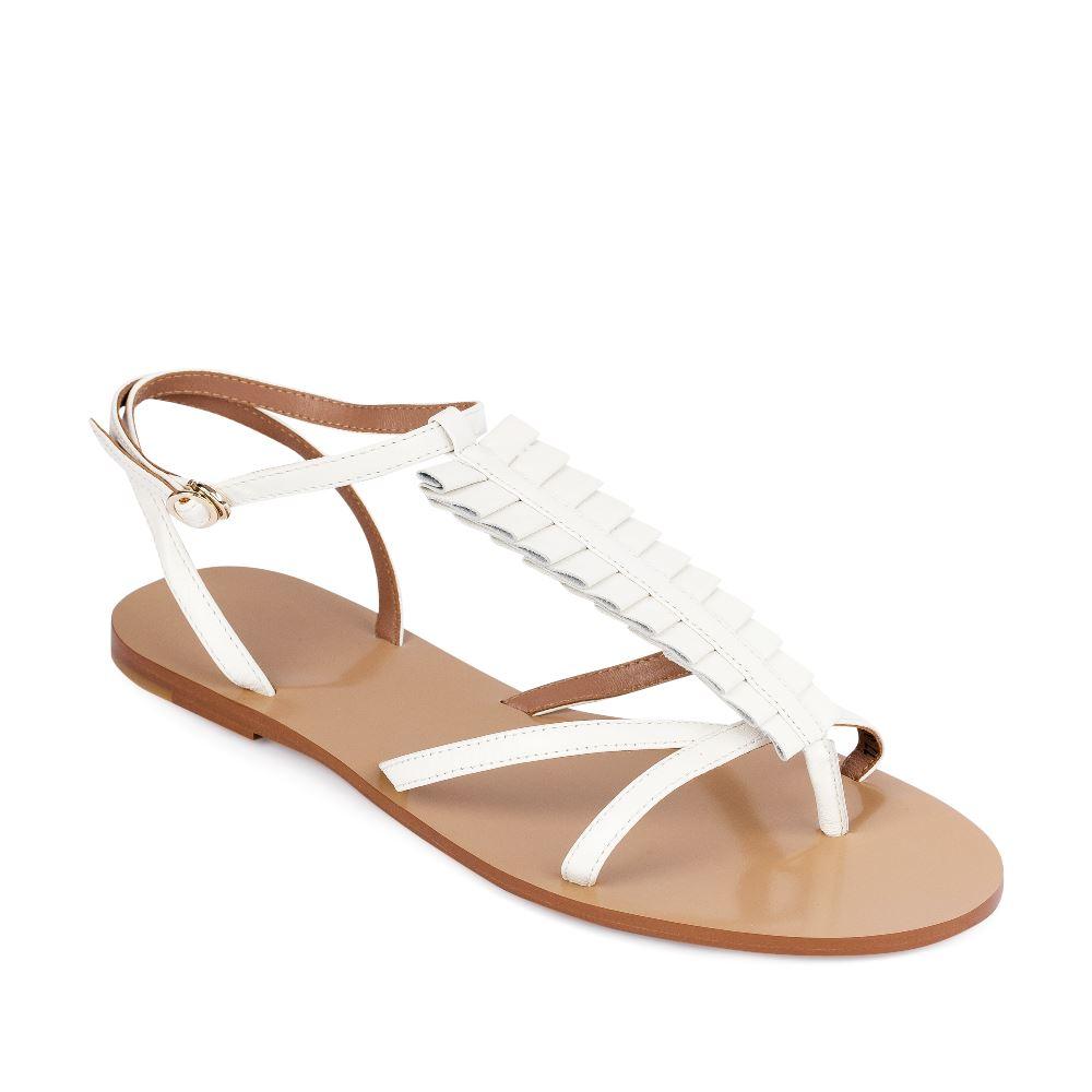Женские сандалии CorsoComo (Корсо Комо) Сандалии из кожи белого цвета с оборками