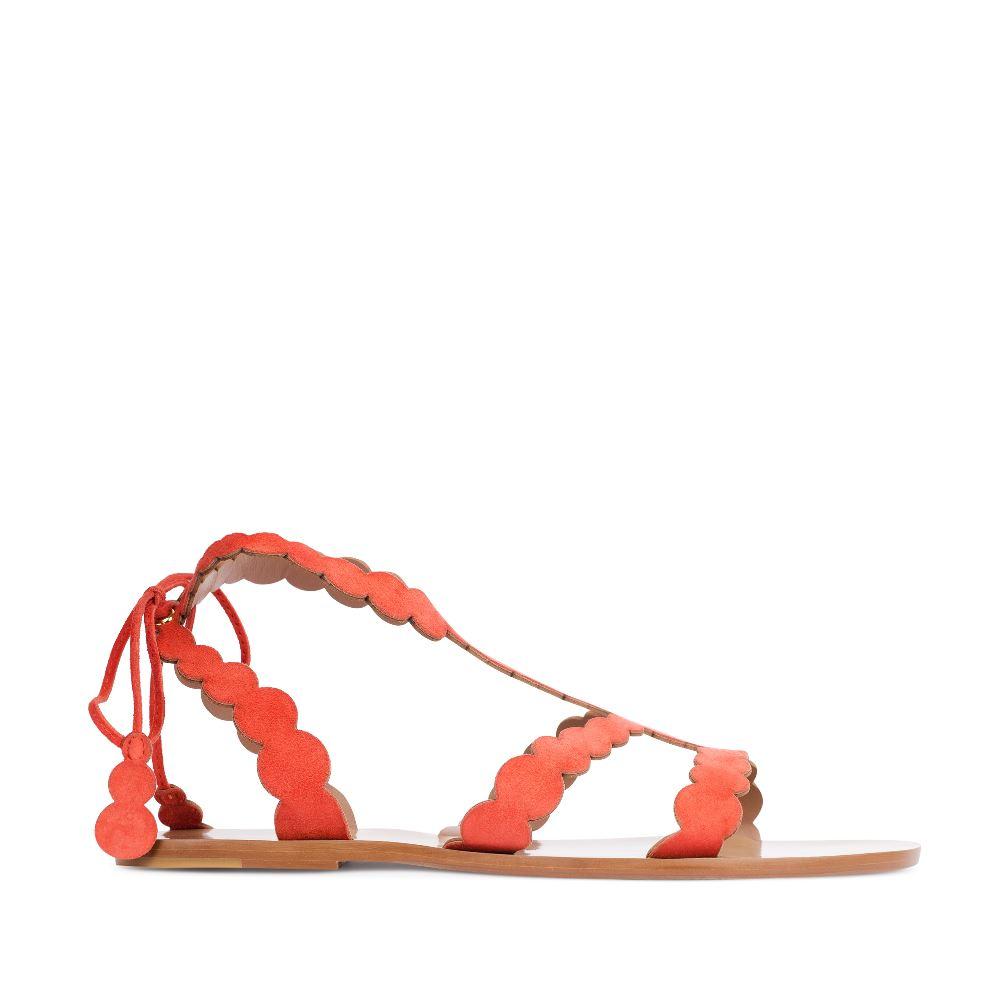 Сандалии из замши оранжевого цвета с ремешкамиСандалииженские<br><br>Материал верха: Замша<br>Материал подкладки: Кожа<br>Материал подошвы: Тунит<br>Цвет: Оранжевый<br>Высота каблука: 0 см<br>Дизайн: Италия<br>Страна производства: Китай<br><br>Высота каблука: 0 см<br>Материал верха: Замша<br>Материал подошвы: Тунит<br>Материал подкладки: Кожа<br>Цвет: Оранжевый<br>Вес кг: 1.00000000<br>Размер: 36.5