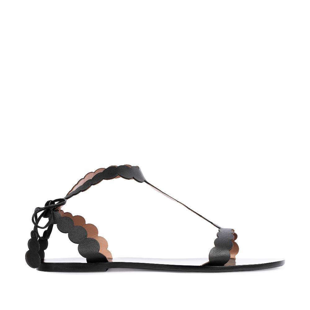 Сандалии из кожи черного цвета с ремешками 17-005-01-43-45